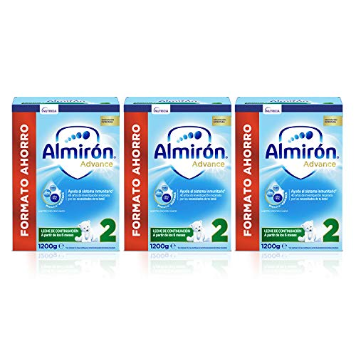 Almirón Advance 2, Leche de Continuación en Polvo para Bebé desde 6 Meses, Pack de 3x1,2kg
