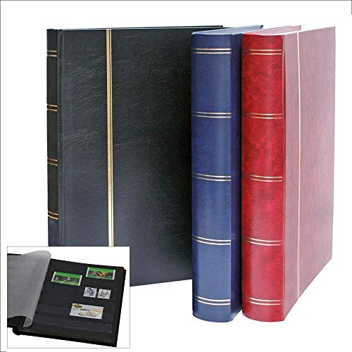 Briefmarkenalbum 64 Seiten schwarz. Einband blau.Format ca. 230 x 305 mm.Luxusausführung.