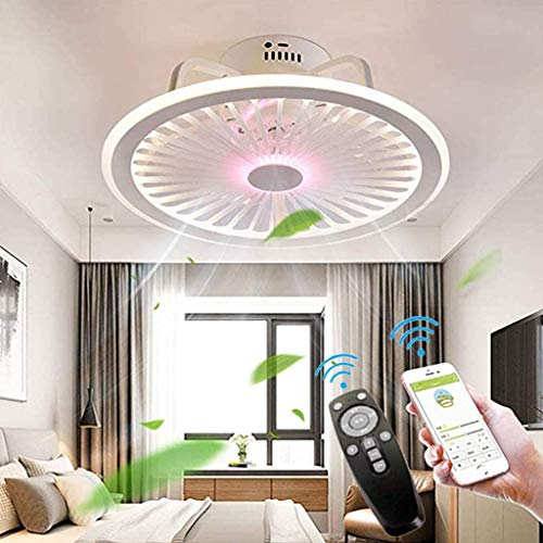 WUAZ Deckenventilatoren Mit Beleuchtung, Mit App-Steuerung Und Fernbedienung, Dimmbare Windgeschwindigkeit, 40W Moderne LED-Deckenleuchte Mit Ventilator Kronleuchter