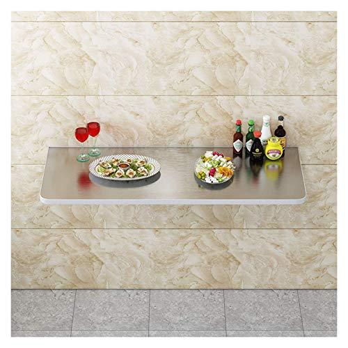 Mesa de Cocina pequeña Plegable, Escritorio Colgante Flotante de Acero Inoxidable para Espacios pequeños/Garaje/lavandería/Cocina/apartamento pequeño, 13 tamaños (Color: Plata, Tam