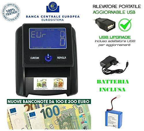 RILEVATORE BANCONOTE AGGIORNABILE PORTATILE INCLUSO ANCHE A BATTERA O CON FILO RILEVA CONTA SOLDI EURO VERIFICA FALSI USB 2020