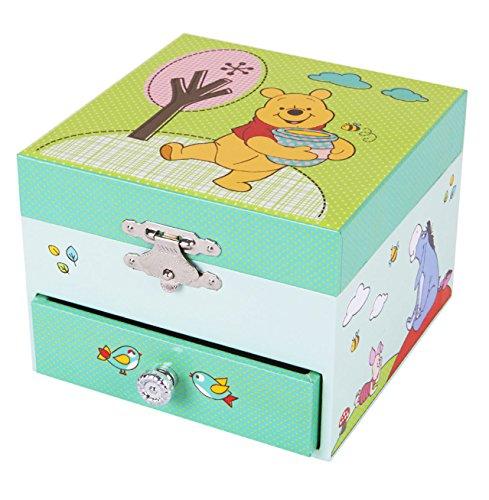 TROUSSELIER - DISNEY - Winnie l'Ourson - Boîte à Trésors & Bijoux Musicale - Idéal Cadeau Enfant - Musique Lullaby de Brahms - Colori Vert