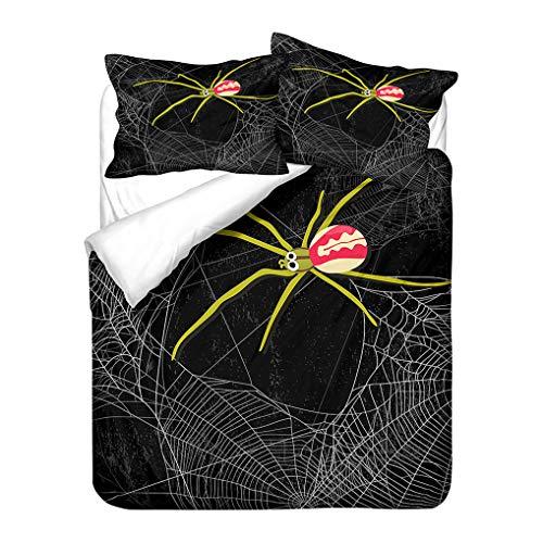 HNHDDZ Green Black White Jungle Bedding set 3D Animals Spider Duvet Cover and Pillowcase Microfiber Kids Boys (Style 2, Double 200x200 cm)