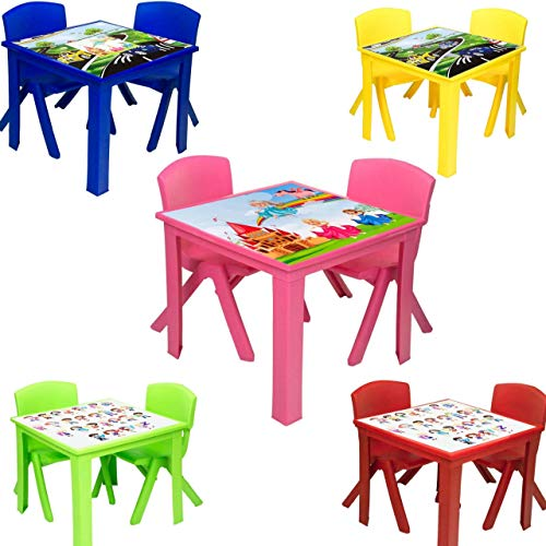 A406 Toddler Plastic Table and Chairs for Children Kids Plastic Nursery Set Outdoor indoor (Pink, Table + 2 Chairs)