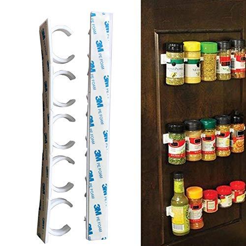 LLine 4 PCS Spice Rack Organizer Wall Cabinet Door Hanging Spice Jars Clip Hooks Set Storage Holder Gripper Accesorios de Cocina