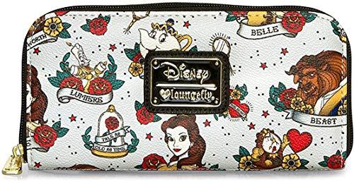 Loungefly Disney - Cartera Tarjetero La Bella y la Bestia Estilo Tatuaje