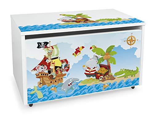 LEOMARK Blanco Caja de madera banco con almacenamiento para juguetes con Asiento, Baúl de juguetes sobre ruedas, Dim: 71 cm x 40.5 cm x 45 cm/WxDxH/ (Piratas)