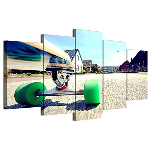ZNNHERO Leinwanddrucke Dekoration 5 Panel Skateboard Neue Kunst Leinwand Malerei Modulare Bilder Poster Drucke auf Leinwand Rahmen