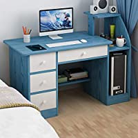 Teegui Modern Simple Computer Desk with Wooden Storage Shelf and Drawer (Blue)