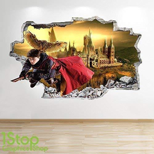 1Stop Graphics Shop Harry Potter Adesivo da Parete 3D Look - Camera da Letto Bambini Hogwarts da Parete, Decalcomania Z587 - Large: 70 cm x 111 cm