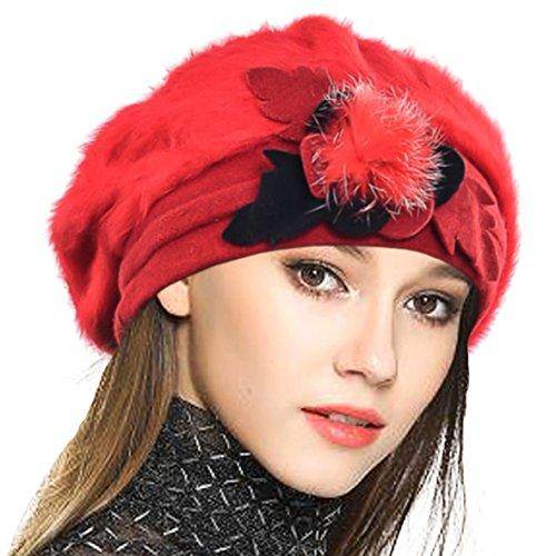 VECRY Mujeres Lana Boinas Angola Gorro Casquete Invierno Sombrero (Rojo)