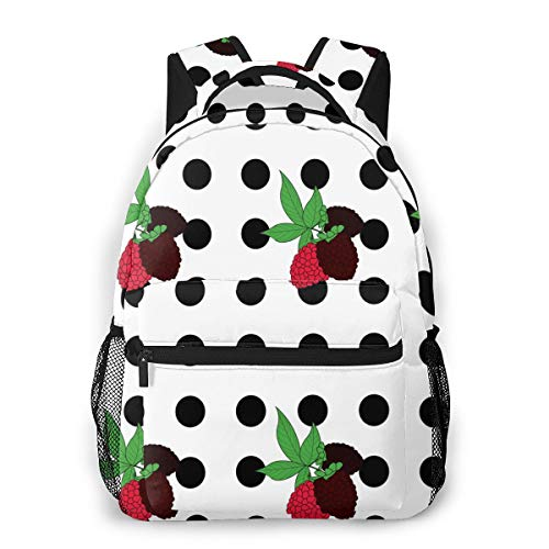 Qucoost Laptop Schoolbag Casual Lightweight Travel Sports Backpack Unisex(Blackberry Polka Dots)