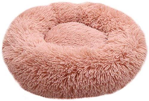 Rond hondenbed voor katten, winter, warm, slaapzak, ligstoel, tapijt, puppy kussen, kassa kussen, magnetisch, wasbaar van stevig en ademend katoen voor katten (kleur: kaki, maat: 90 cm diameter), 60cm diameter, Pink and Rose