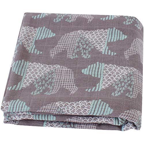 LifeTree Sommer Weichen Musselin Tuch Baby Pucktücher, 120x120cm Bambus/Baumwolle Swaddle Blanket, Mullwindeln für Junge und Mädchen (Bär)