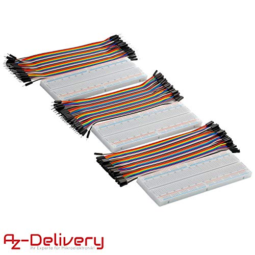 AZDelivery Breadboard Kit - 3x Jumper Wire m2m/f2m/f2f + 3er Set MB102 Breadbord inklusive E-Book!