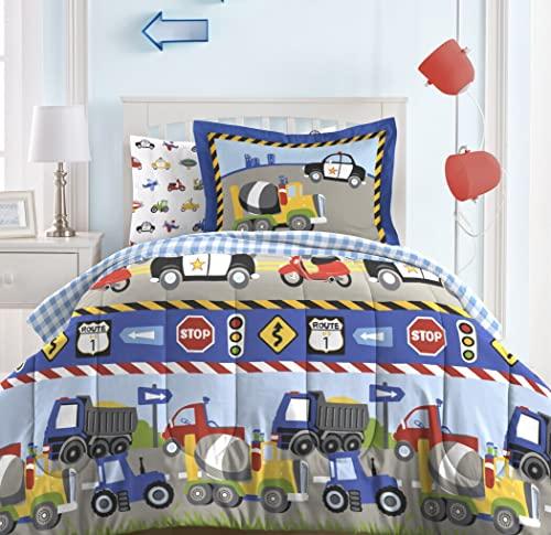 Dream Factory Trucks Tractors Cars Boys 5-Piece Bedding...
