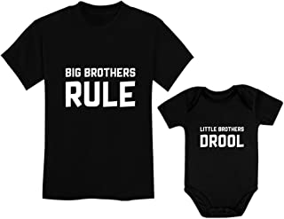 Tstars Big Brothers Rule Little Brothers Drool Boys Set Siblings Gift Shirt & Bodysuit