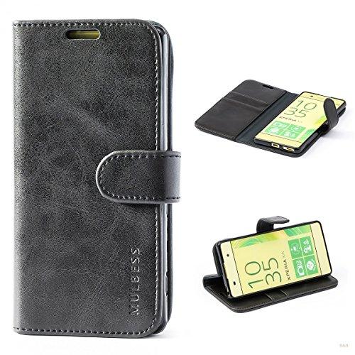 Mulbess Handyhülle für Sony Xperia XA Hülle, Leder Flip Case Schutzhülle für Sony XA Tasche, Schwarz