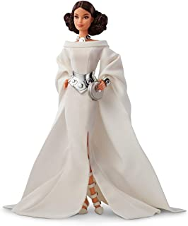 Barbie Collector Star Wars Princess Leia x Barbie Doll, 11.5-inch Wearing White Gown and Accessories, with Doll Stand and Certificate of Authenticity
