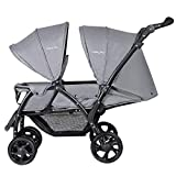 GYMAX Double Seat Stroller with Adjustable Push Handle and Foot Rest, Detachable Canopy