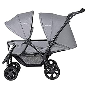 GYMAX Double Seat Stroller with Adjustable Push Handle and Foot Rest, Detachable Canopy, Foldable Baby Pushchair Buggy for Traveling, Going Shopping, Hanging Out   9