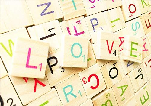 100 Stück Alphabet Holz Fliesen Bunte Buchstaben Anzahl Handwerk Spielzeug