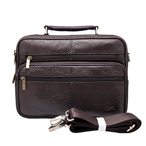 Bolsa carteiro Vidlea de 25 cm para tablet transversal com bolsa de couro bovino para dia escolar com alça de ombro, Marrom, One Size