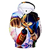 Cheerful D Sonic-Hedgehog Unisex Hoodie 3D Printed Hooded Pullover Sweatshirt for Men Women Boys Girls S Black
