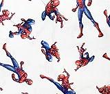Stoff für Kinder, Spiderman-Motiv auf weißem Hintergrund,