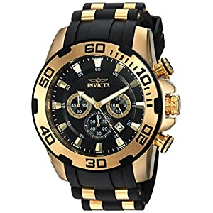 Invicta Men's Pro Diver Scuba 50mm Gold Tone Stainless Steel and Silicone Chronograph Quartz Watch, Black/Gold (Model…