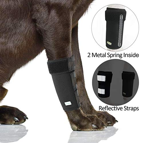 IN HAND Dog Leg Brace, Pair of Dog Canine Leg Wrap Front Leg Compression Brace with Metal Strips &...