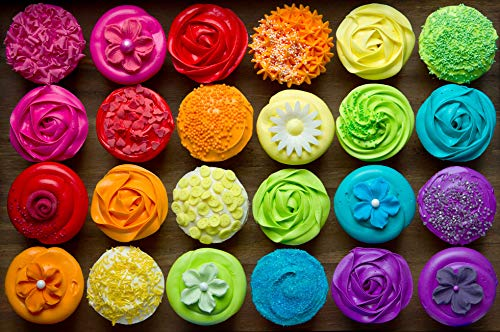 Jigsaw Puzzles 1000 Pieces for Adults Kids, Cool Cupcake, Many Colorful Cupcakes, Large Jigsaw Puzzle Toys Home Decoration, Wall Decoration Mother