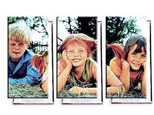Unified Distribution Pippi Langstrumpf - Dreiteiler (120x80 cm) Kunstdruck auf Leinwand • erstklassige Druckqualität • Dekoration • Wandbild