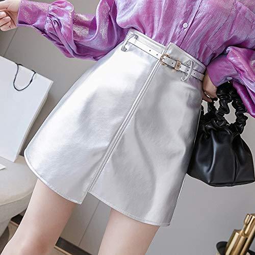 MIBKLPG Asymmetrische Damesrok Mini Pakket Heupen Hoge Taille Rokken Mode Slanke Leren Rok