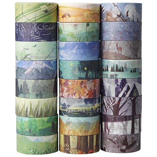 UOOOM 24 Rollen Washi Tape Set - Frühling Sommer Herbst und Winter Kreative Design Klebebänder Papierband - Masking Tape deko klebeband buntes Klebebänder DIY scrapbook