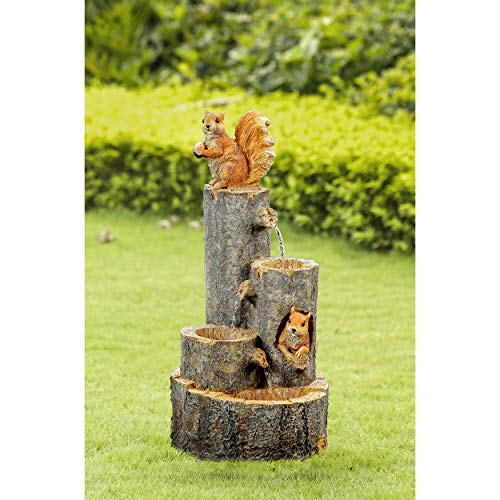 Playing Squirrels Water Fountain Multi Color Traditional Resin