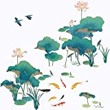 Removable 3D DIY Plants Lotus and Fish Wall Decals Lotus Leaf Wall Sticker Birds Wall Decor for Living Room Kids Baby Boy Girl Bedroom Bathroom Playroom Office TV Sofa Background Decoration (Lotus)