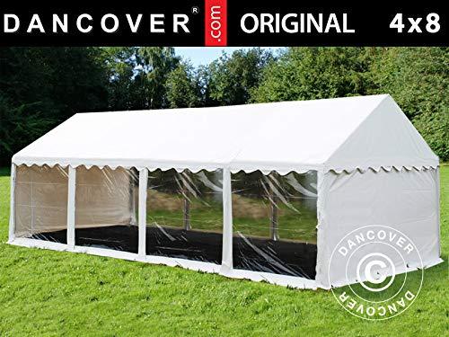 Dancover Partyzelt Pavillon Festzelt Original 4x8m PVC, Panorama, Weiß