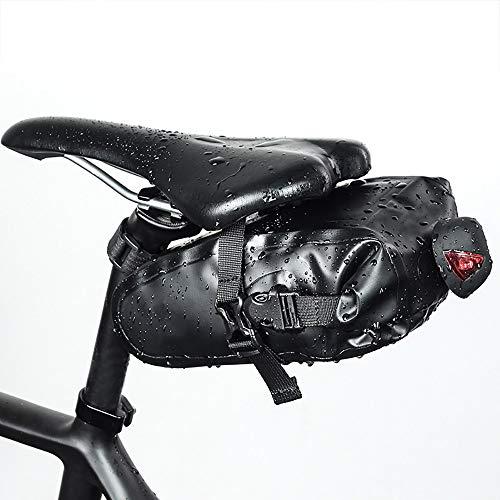 WHTBOX Bolsa Sillin Bicicleta Carreter,Bolsa Tija Sillin Bicicleta,Gran Espacio,Impermeable,Hebilla para Colgar de La Luz Trasera,Tela de Nylon,Utilizada para Todo Tipo de Bicicletas,Black-L