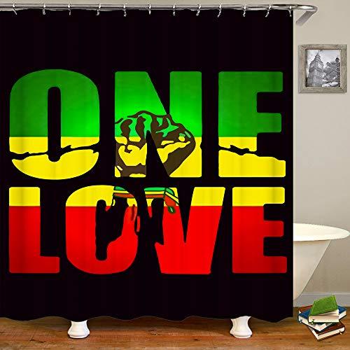 SARA NELL Reggae Rasta One Love - Cortinas de ducha (182 x 183 cm) para juegos de baño, tela de poliéster impermeable con ganchos