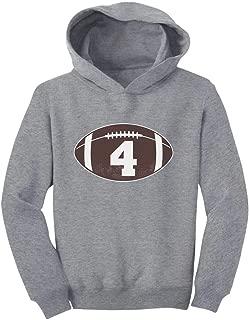 Tstars Gift for 4 Year Old Boy Football 4th Birthday Toddler Hoodie