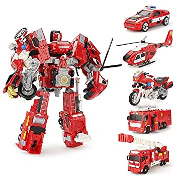 YEIBOBO ! 5-in-1 Combiners Transformation Robot Action Figure Toy - Diecast Transformers Model  Fire Truck