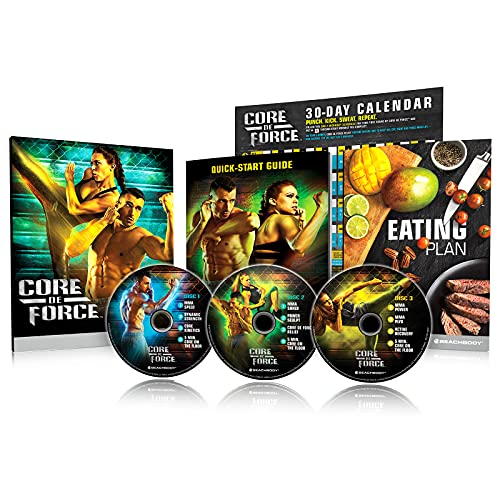 Beachbody CORE DE FORCE Base Kit DVD Workout Program, MMA Inspired Kickboxing Workouts for Men and Women, Easy To Follow Exercies Videos, Zero Equipment Required