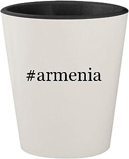 #armenia - Ceramic Hashtag White Outer & Black Inner 1.5oz Shot Glass