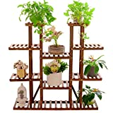 unho Multi-Tier Plant Stand, 46in Height Wood Flower Rack Holder 16 Potted Display Storage Shelves Indoor Outdoor for Patio Garden Balcony Yard