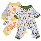 HongYH 2-pack Dog Clothes Dogs Cats Onesie Soft Dog Pyjamas Cotton Puppy Rompers Pet Jumpsuits Cozy Bodysuits for Small Dogs and Cats