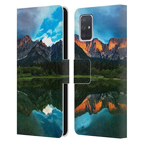 Head Case Designs Offiziell Zugelassen Patrik Lovrin Brennender Sonnenuntergang über Bergen Magische Seen Leder Brieftaschen Handyhülle Hülle Huelle kompatibel mit Samsung Galaxy A71 (2019)