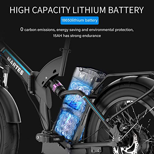 MARTES Electric Folding Bike Fat Tire 20 4' with 48V 500W 15Ah Lithium-ion battery,City Mountain Bicycle Booster 100-120KM