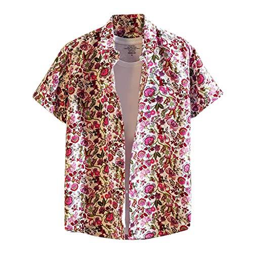 Yowablo Herren Kurzarm Hemd Hawaii Bedruckte Spleißmuster Casual Fashion Revers Kurzarm (3XL,2Rot)