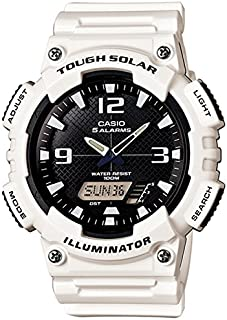 Tough Solar Illuminator Watch for Men by Casio , Analog/Digital , Resin , White , AQS-810WC-7A